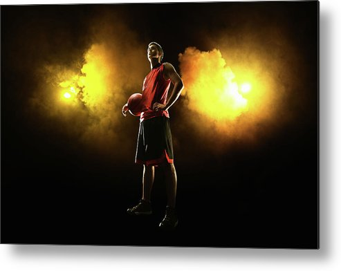 People Metal Print featuring the photograph Basketball Player On Smoky Yellow by Stanislaw Pytel