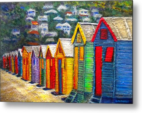 Beach Metal Print featuring the painting Beach Houses At Fish Hoek by Michael Durst