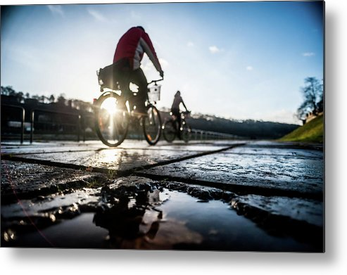 People Metal Print featuring the photograph Bicycles by A. Aleksandravicius