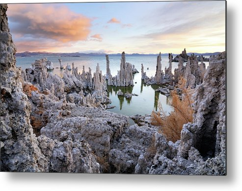 Water's Edge Metal Print featuring the photograph Big Cloud Above Tufas On Mono Lake by Rezus