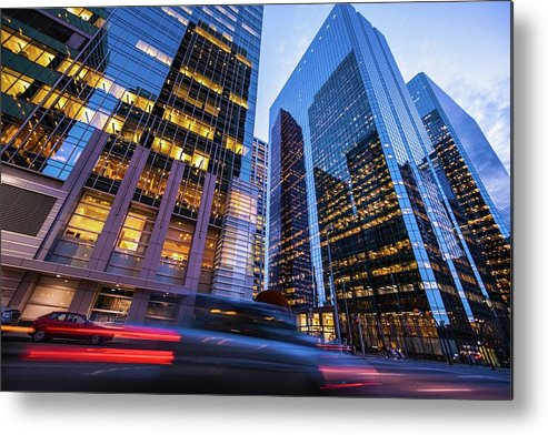Downtown District Metal Print featuring the photograph Blurred Car Lights In Motion On Street by Larabelova