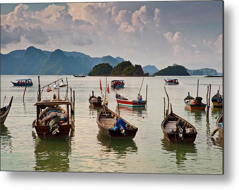 Southeast Asia Metal Print featuring the photograph Boats Moored In Sea, Teluk Baru by Richard I'anson