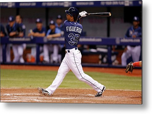 Following Metal Print featuring the photograph Boston Red Sox V Tampa Bay Rays by Mike Carlson
