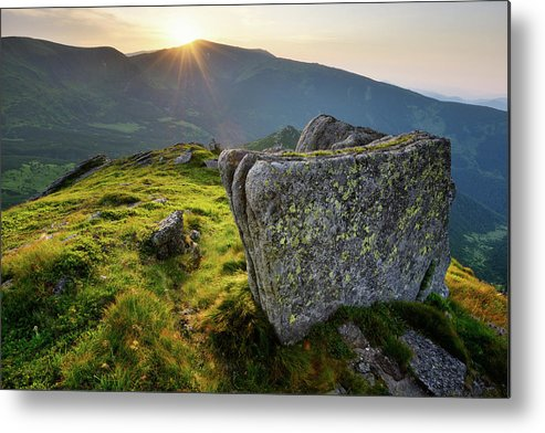 Scenics Metal Print featuring the photograph Bright Sunset Landscape In Mountains by Rezus