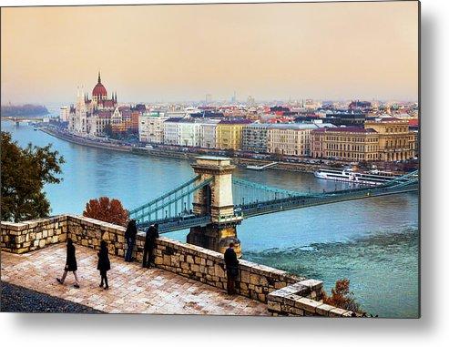 Hungarian Parliament Building Metal Print featuring the photograph Budapest - Hungarian Pastels by John And Tina Reid