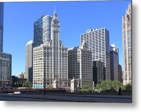 Chicago River Metal Print featuring the photograph Buildings By The Chicago River, Chicago by Fraser Hall
