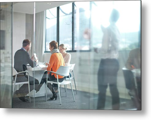 Young Men Metal Print featuring the photograph Businesspeople Having Meeting At by Zero Creatives