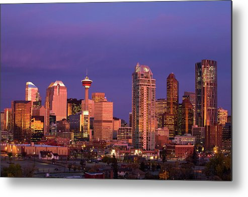 Dawn Metal Print featuring the photograph Calgary Skyline At Dawn With City by Michael Interisano / Design Pics