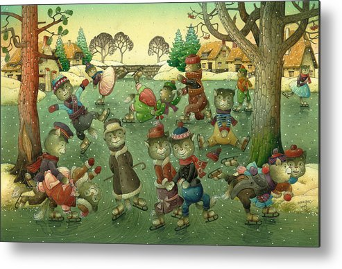 Christmas Greeting Cards Ise Skating Cat Holiday Metal Print featuring the painting Cats on Skates by Kestutis Kasparavicius