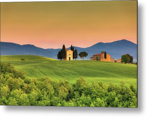 Roman Metal Print featuring the photograph Chapel Of Vitaleta In Tuscany, Val by Zodebala