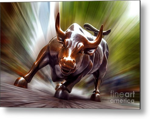 Charging Bull Metal Print featuring the photograph Charging Bull by Az Jackson