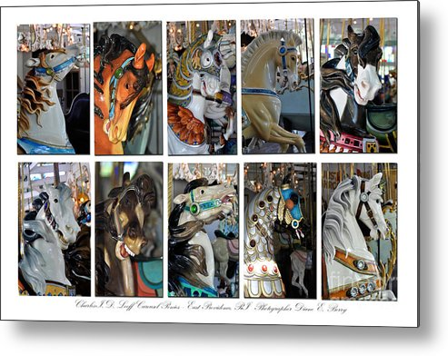 Diane Berry Metal Print featuring the photograph Charles Looff Carousel Ponies by Diane E Berry