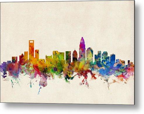 Watercolour Metal Print featuring the digital art Charlotte North Carolina Skyline by Michael Tompsett