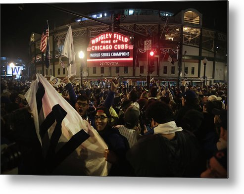American League Baseball Metal Print featuring the photograph Chicago Cubs Fans Gather To Watch Game by Scott Olson