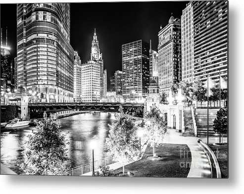America Metal Print featuring the photograph Chicago River Buildings at Night in Black and White by Paul Velgos