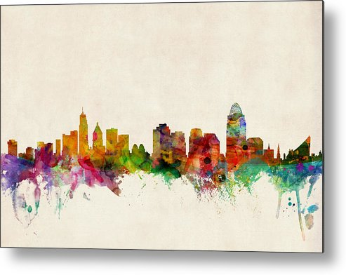Watercolour Metal Print featuring the digital art Cincinnati Ohio Skyline by Michael Tompsett