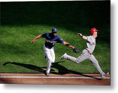 American League Baseball Metal Print featuring the photograph Cincinnati Reds V Milwaukee Brewers by Jon Durr