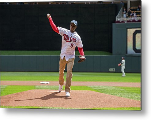 Sport Metal Print featuring the photograph Cleveland Indians V Minnesota Twins by Brace Hemmelgarn