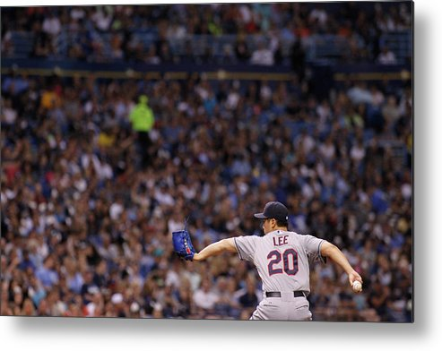 American League Baseball Metal Print featuring the photograph Cleveland Indians V Tampa Bay Rays by Brian Blanco