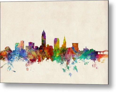 Watercolour Metal Print featuring the digital art Cleveland Ohio Skyline by Michael Tompsett