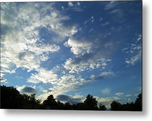 Textural Clouds In A Blue Evening Sky Metal Print featuring the photograph Cloud Scatter by Baato