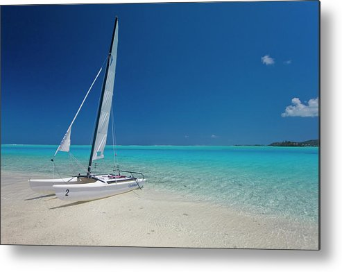 Club Med Metal Print featuring the photograph Club Med Sailing Catamaran On Shore Of by Merten Snijders
