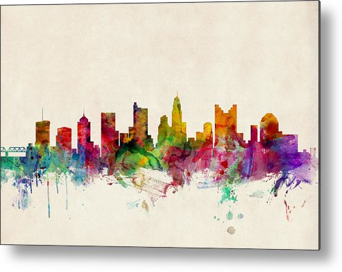Watercolour Metal Print featuring the digital art Columbus Ohio Skyline by Michael Tompsett