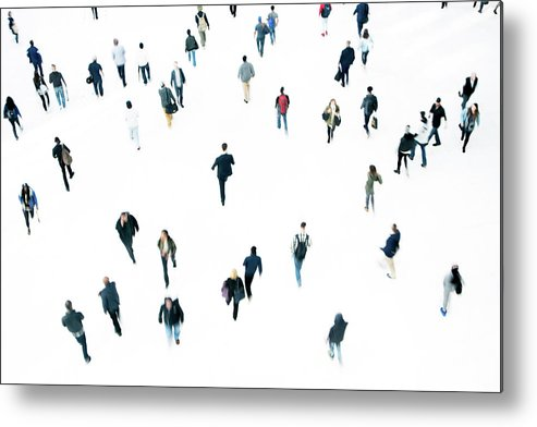 Working Metal Print featuring the photograph Commuters by Ferrantraite