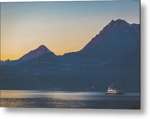 Panoramic Metal Print featuring the photograph Como District Lake by Deimagine