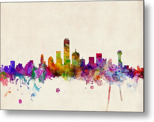 Watercolour Metal Print featuring the digital art Dallas Texas Skyline by Michael Tompsett