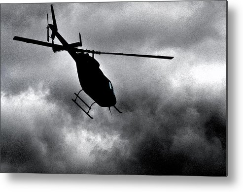 Helicopter Metal Print featuring the photograph Dark Sky Rising 2 by Peter McIntosh