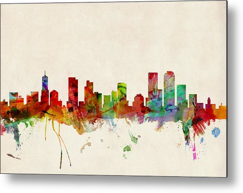 Watercolour Metal Print featuring the digital art Denver Colorado Skyline by Michael Tompsett