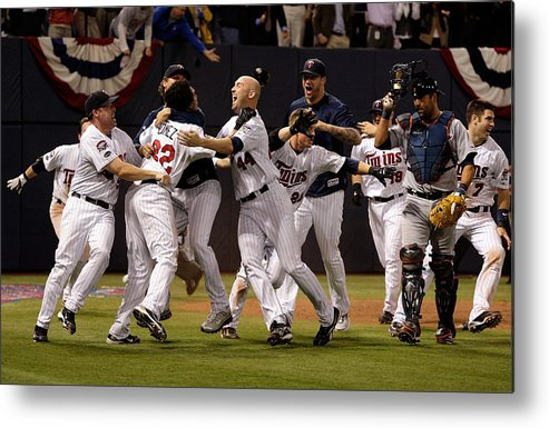 Hubert H. Humphrey Metrodome Metal Print featuring the photograph Detroit Tigers v Minnesota Twins by Jamie Squire