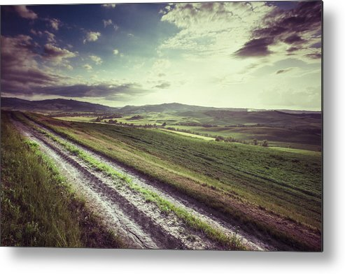 Steppe Metal Print featuring the photograph Dirt Track In Tuscany by Xavierarnau