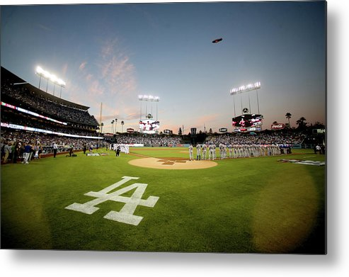 American League Baseball Metal Print featuring the photograph Division Series - New York Mets V Los by Stephen Dunn
