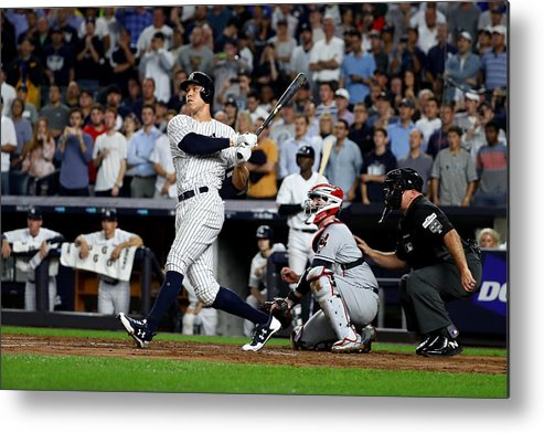 Second Inning Metal Print featuring the photograph Divisional Round - Cleveland Indians v New York Yankees - Game Four by Al Bello