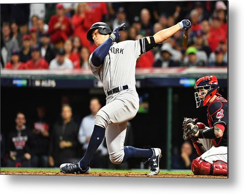 People Metal Print featuring the photograph Divisional Round - New York Yankees v Cleveland Indians - Game Five by Jason Miller