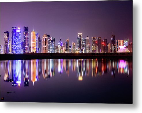 West Bay Metal Print featuring the photograph Doha Skyscrapers by Photography By Lubaib Gazir