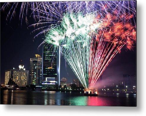 Firework Display Metal Print featuring the photograph Dubai Creek Fireworks by Shahin Olakara Photography