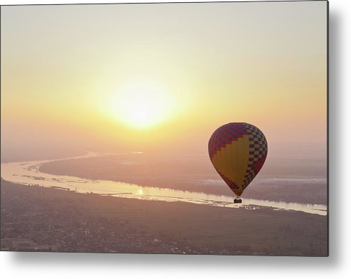 Luxor Metal Print featuring the photograph Egypt, View Of Hot Air Balloon Over by Westend61