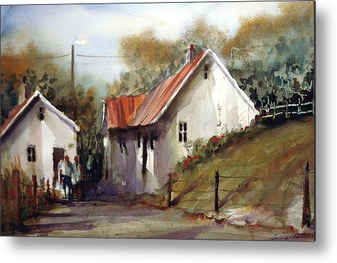 Landsscape Metal Print featuring the painting English Country Lane by Charles Rowland