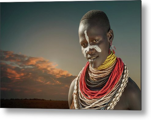People Metal Print featuring the photograph Ethiopia, Omo Valley, Karo Woman by Buena Vista Images