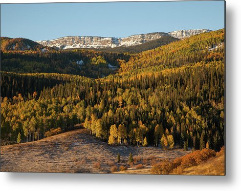 Tranquility Metal Print featuring the photograph Fall Foliage And Snow-dusted Peaks by Karen Desjardin