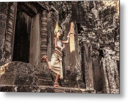Hinduism Metal Print featuring the photograph Female Apsara Dancer, Standing On One by Cultura Exclusive/gary Latham