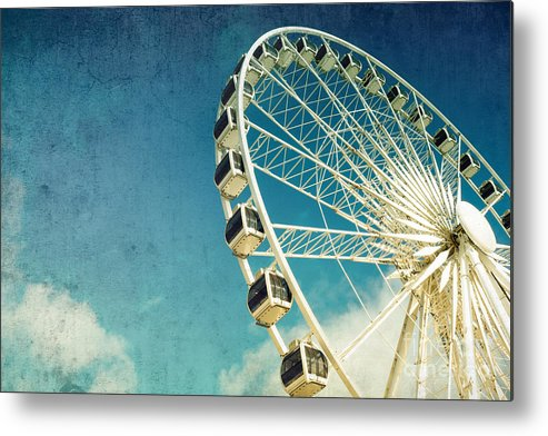 Wheel Metal Print featuring the photograph Ferris wheel retro by Jane Rix