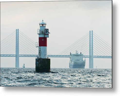 Copenhagen Metal Print featuring the photograph Ferry On Sea, Oresund Bridge In by Johner Images