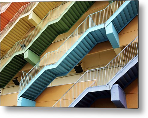 Steps Metal Print featuring the photograph Fire Escape Stairs by Akiyoko