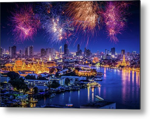 Mother's Day Metal Print featuring the photograph Fireworks Above Bangkok City by Natapong Supalertsophon