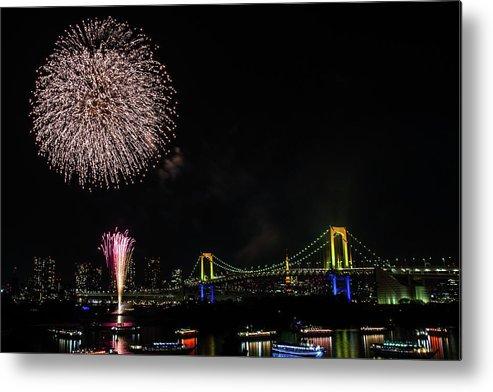 Firework Display Metal Print featuring the photograph Fireworks At Rainbow Bridge by ©alan Nee