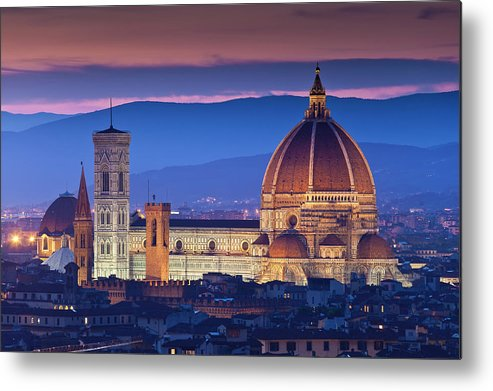 Built Structure Metal Print featuring the photograph Florence Catherdral Duomo And City From by Richard I'anson